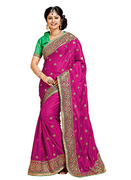Deep Magenta Art Silk Embroidered Saree