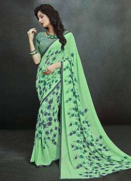Deep Moss Green Georgette Printed Saree