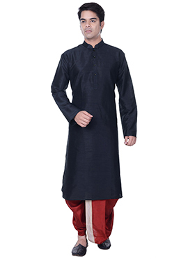 Deep Navy Blue Dhoti Style Kurta Pyjama
