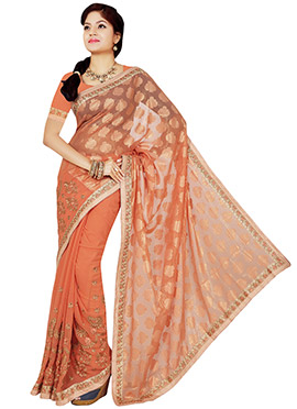 Orange Half N Half Saree