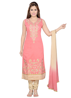 Deep Peach Art Silk Churidar Suit