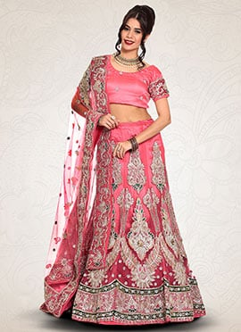 Deep Peach Embroidered A Line Lehenga Choli
