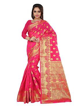 Deep Pink Cotton Zari Weaving Saree