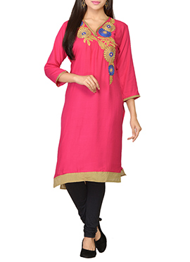 Deep Pink Embroidered Viscose Kurti