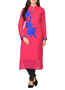 Deep Pink Georgette Embroidered Long Kurti