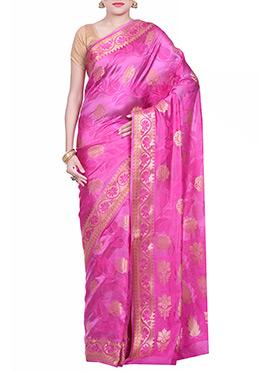 Deep Pink Pure Silk Embroidered Saree