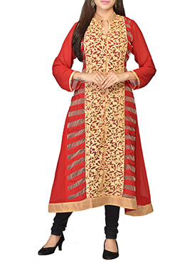 Deep Red Embroidered Georgette Long Kurti
