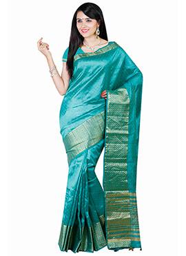 Deep Turquoise Art Tussar Silk Saree