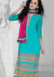 Delightful Green Cotton Churidar Suit