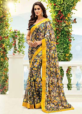 Multicolored Crepe Floral Patterned Saree