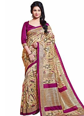 Divyanka Tripathi Beige Bhagalpuri Silk Saree