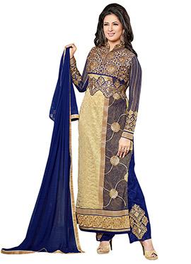 Divyanka Tripathi Beige N Blue Straight Pant Suit