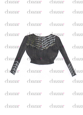 DIY Black Georgette Embroidered Blouse