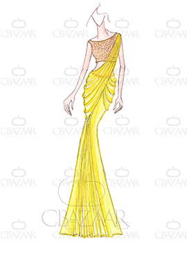 DIY Dilwale Inspired Yellow Georgette Saree