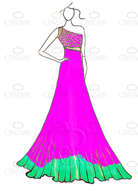 DIY Dilwale Ombre Pink N Green Georgette Gown