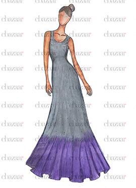 DIY Grey N Lavender Gown