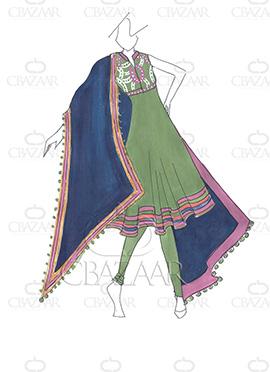 DIY PRDP Green Georgette Anarkali Suit