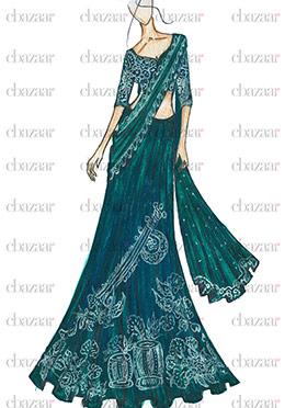 DIY Teal Blue Art Silk Lehenga Choli