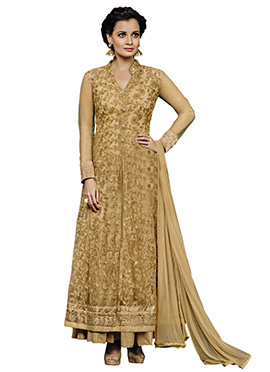 Diya Mirza Beige Net Ankle Length Anarkali Suit