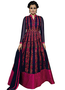 Diya Mirza Navy Blue Ankle Length Anarkali Suit