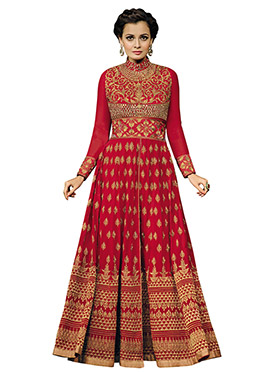 Diya Mirza Red Georgette Floor Length Anarkali