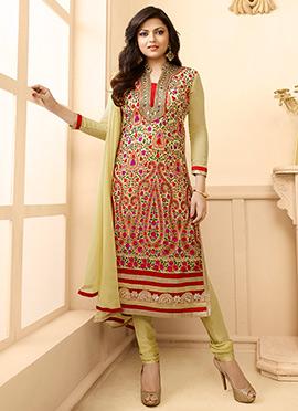 Drashti Dhami Beige Churidar Suit