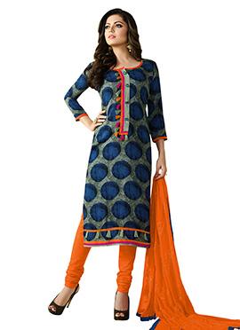 Drashti Dhami Blue N Sage Green Churidar Suit
