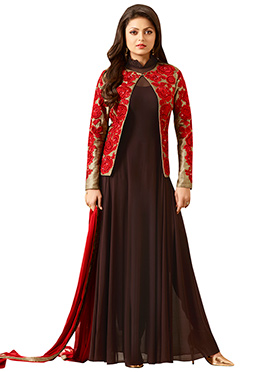 Drashti Dhami Brown Anarkali Suit