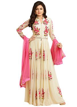 Drashti Dhami Cream Anarkali Suit