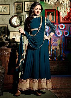 Drashti Dhami Dark Teal Blue Anarkali Suit