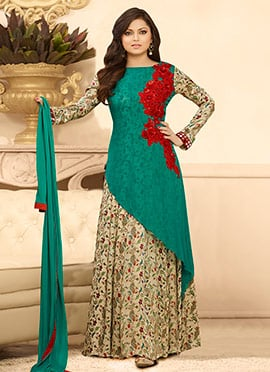 Drashti Dhami Green N Multicolored Anarkali Suit