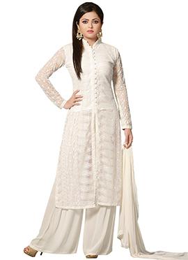 Drashti Dhami Off White Net Palazzo Suit