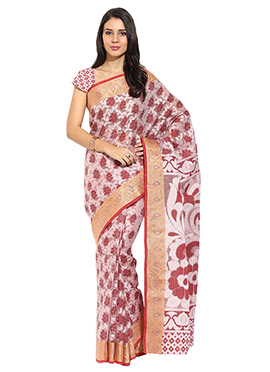 Dusty Pink N Maroon Floral Design Saree