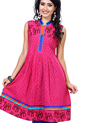 Effervescent pink cotton kurti