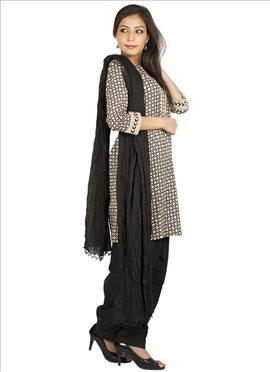 Elegant Black N Cream Semi Patiala Suit