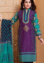 Elegant Purple Printed Chanderi Churidar Suit