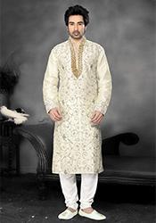 Elegant White Silk Kurta Pyjama