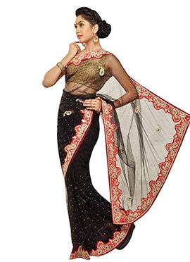 Embellished Black Saree