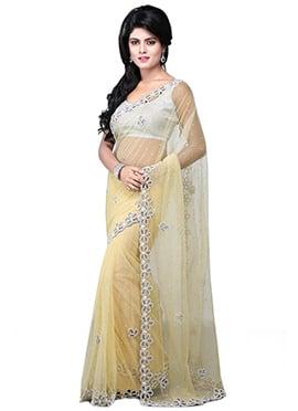 Embellished Dark Cream Net Embellished Saree