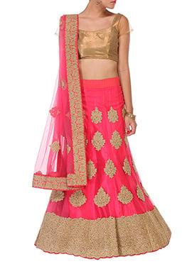 Embellished Fuchsia Pink Net Lehenga Choli