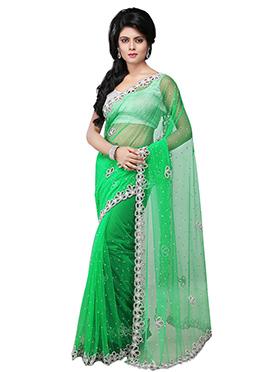 Embellished Light Green Net Embellished Saree