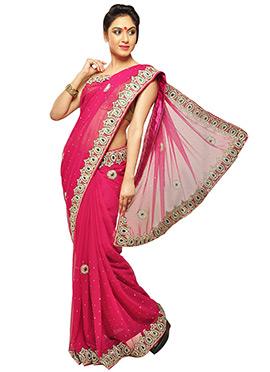 Embellished Magenta Saree