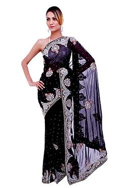 Embellished Stones Black Saree