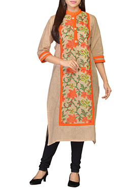 Embroidered Beige Khadi Cotton Long Kurti