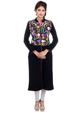 Embroidered Black Orchids Sutraa Woollen Kurti