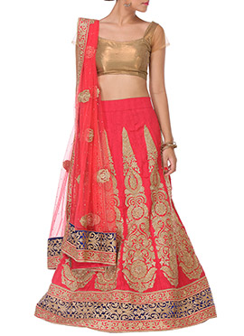 Embroidered Embellished Pink A Line Lehenga Choli