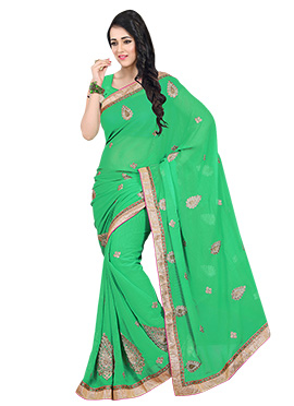 Embroidered Green Saree