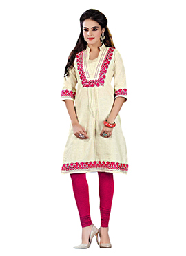 Embroidered Khadi Cotton Kurti