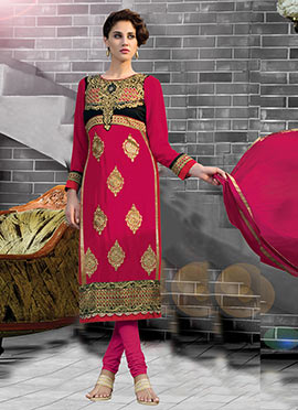 Embroidered Magenta Churidar Suit