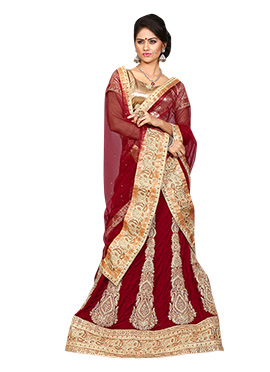 Embroidered Maroon Lehenga Choli